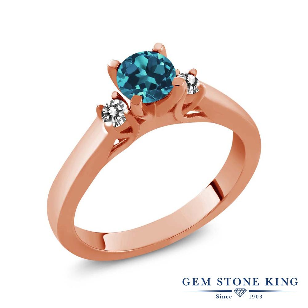 Gem Stone King 0.68カラット 天然 ロンドンブルートパーズ 天然 ダイヤモンド シルバー925 ピンクゴールドコーティング 指輪 リング レディース スリーストーン シンプル 天然石 11月 誕生石 金属アレルギー対応 誕生日プレゼント