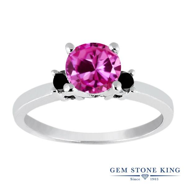 【10%OFF】 Gem Stone King 1.13カラット 合成ピンクサファイア ブラックダイヤモンド 指輪 リング レディース シルバー925 大粒 シンプル スリーストーン 婚約指輪 エンゲージリング