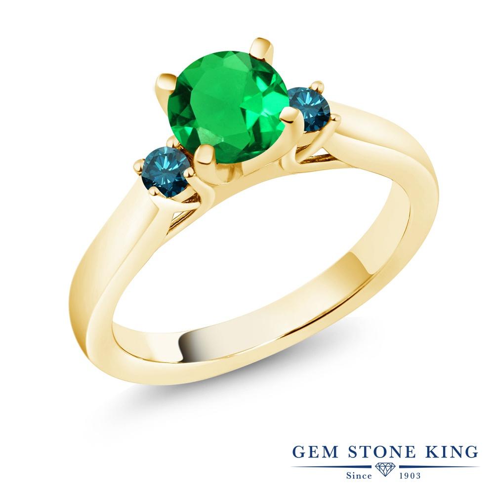Gem Stone King 0.97カラット ナノエメラルド 天然 ブルーダイヤモンド シルバー925 イエローゴールドコーティング 指輪 リング レディース スリーストーン シンプル 金属アレルギー対応 誕生日プレゼント