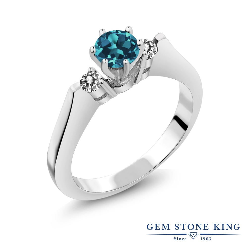 Gem Stone King 0.68カラット 天然 ロンドンブルートパーズ 天然 ダイヤモンド シルバー925 指輪 リング レディース スリーストーン シンプル 天然石 11月 誕生石 金属アレルギー対応 誕生日プレゼント