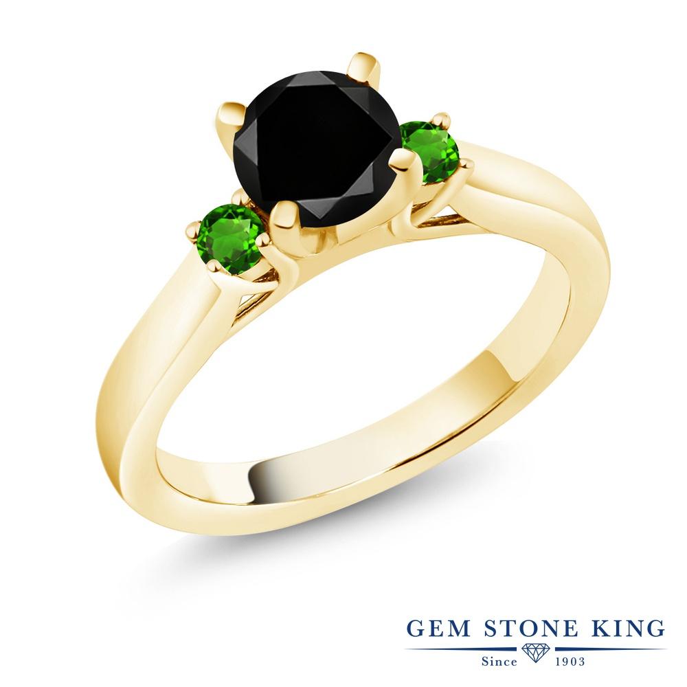 Gem Stone King 1.33カラット 天然ブラックダイヤモンド シミュレイテッド ツァボライト (グリーンガーネット) シルバー925 イエローゴールドコーティング 指輪 リング レディース ブラック ダイヤ 大粒 スリーストーン シンプル 天然石 4月 誕生石 金属アレルギー対応