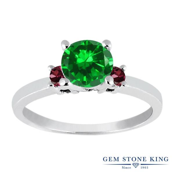 Gem Stone King 1.68カラット ナノエメラルド 天然 ロードライトガーネット シルバー925 指輪 リング レディース 大粒 シンプル スリーストーン 金属アレルギー対応 誕生日プレゼント