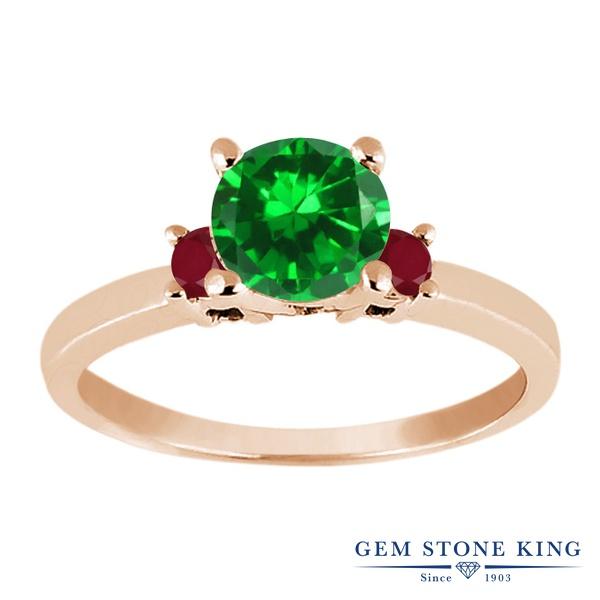 【10%OFF】 Gem Stone King 1.74カラット ナノエメラルド 天然 ルビー 指輪 リング レディース シルバー925 ピンクゴールド 加工 大粒 シンプル スリーストーン 婚約指輪 エンゲージリング