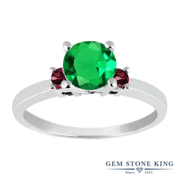 Gem Stone King 0.95カラット ナノエメラルド 天然 ロードライトガーネット シルバー925 指輪 リング レディース シンプル スリーストーン 金属アレルギー対応 誕生日プレゼント