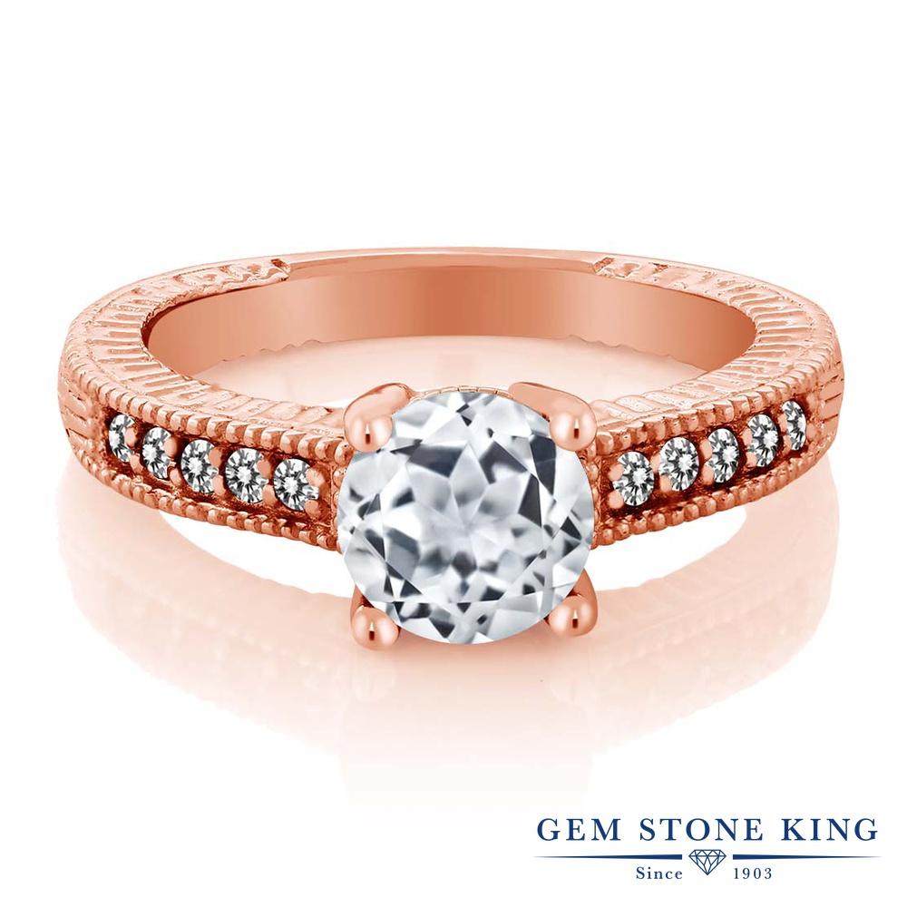 Gem Stone King 1.77カラット 天然 トパーズ (無色透明) 天然 ダイヤモンド シルバー925 ピンクゴールドコーティング 指輪 リング レディース 大粒 マルチストーン 天然石 11月 誕生石 金属アレルギー対応 婚約指輪 エンゲージリング