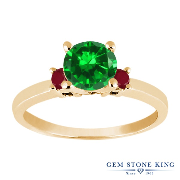 【10%OFF】 Gem Stone King 1.74カラット ナノエメラルド 天然 ルビー 指輪 リング レディース シルバー925 イエローゴールド 加工 大粒 シンプル スリーストーン 婚約指輪 エンゲージリング