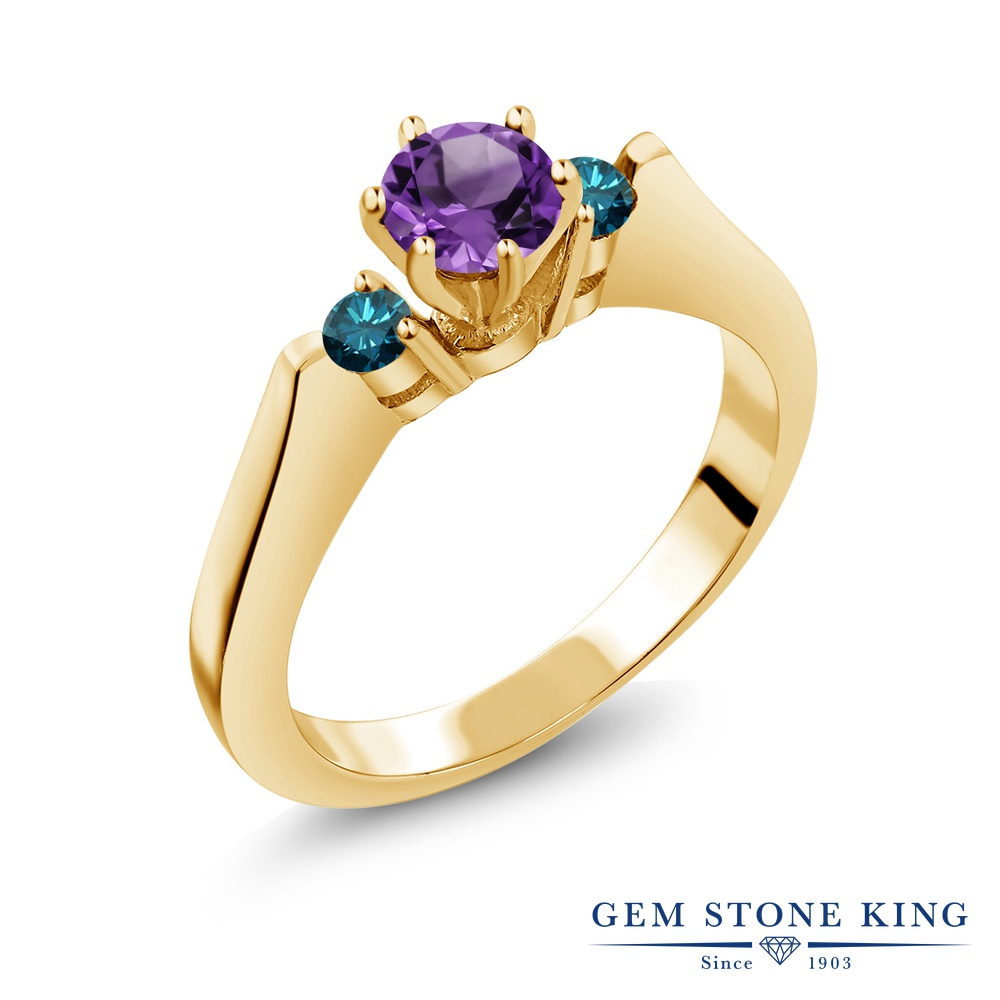 Gem Stone King 0.58カラット 天然 アメジスト 天然 ブルーダイヤモンド シルバー925 イエローゴールドコーティング 指輪 リング レディース 小粒 スリーストーン シンプル 天然石 2月 誕生石 金属アレルギー対応 誕生日プレゼント