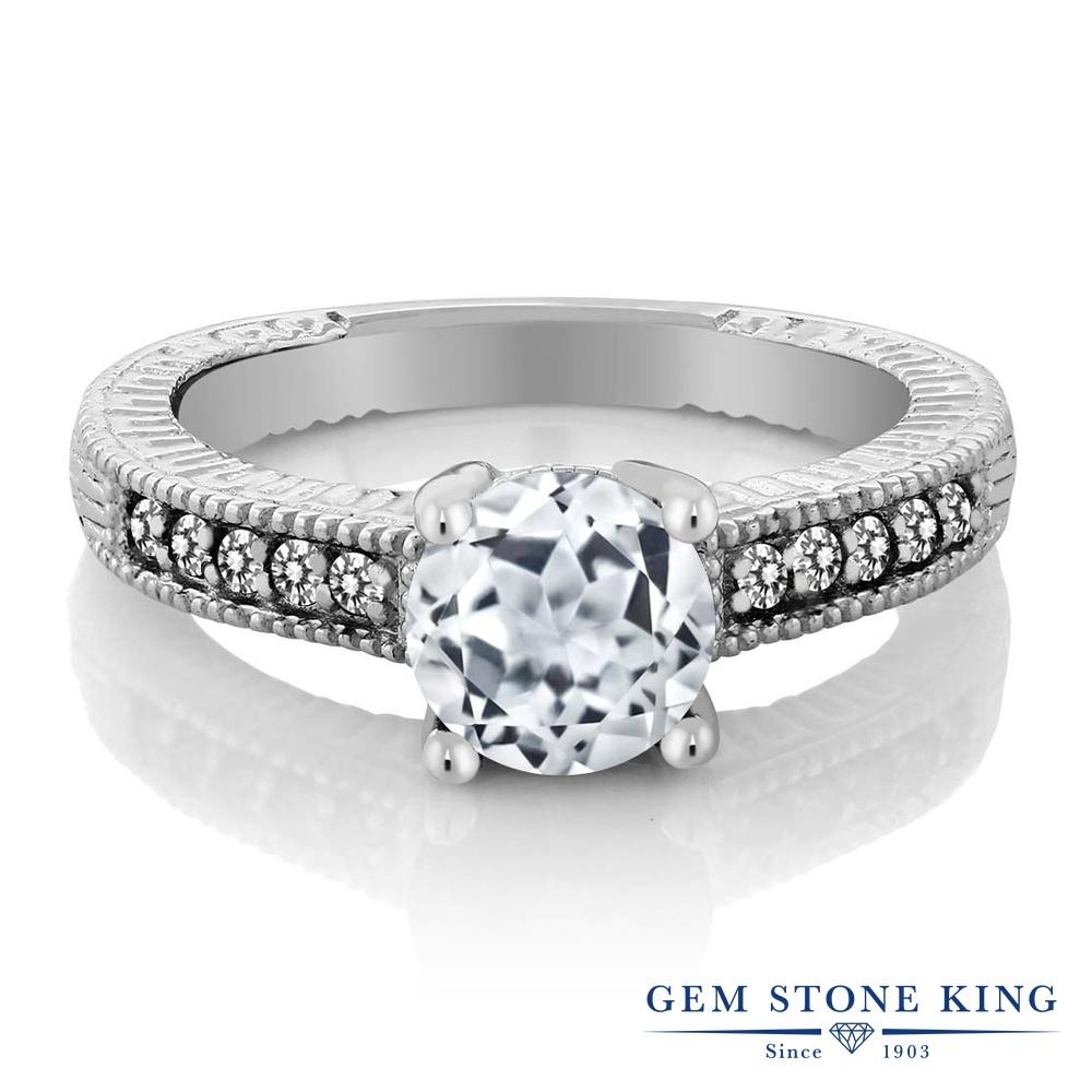 Gem Stone King 1.77カラット 天然 トパーズ (無色透明) 天然 ダイヤモンド シルバー925 指輪 リング レディース 大粒 マルチストーン 天然石 11月 誕生石 金属アレルギー対応 婚約指輪 エンゲージリング