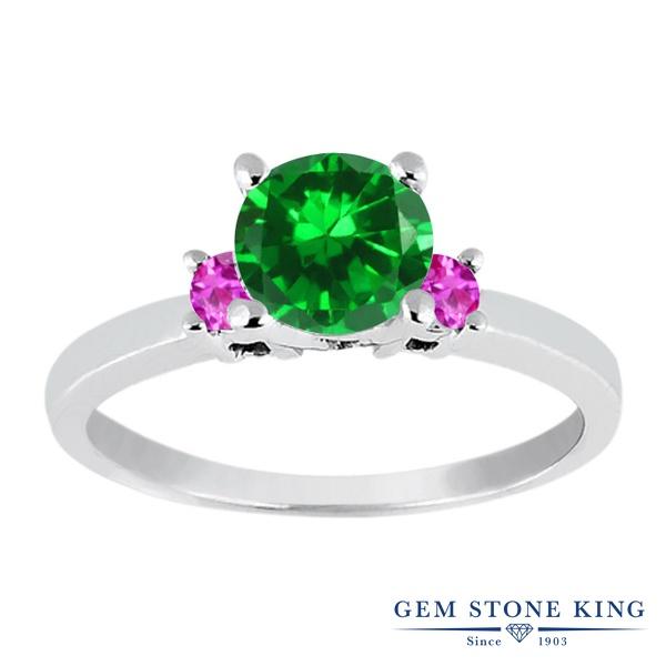 Gem Stone King 1.66カラット ナノエメラルド 天然 ピンクサファイア シルバー925 指輪 リング レディース 大粒 シンプル スリーストーン 金属アレルギー対応 誕生日プレゼント
