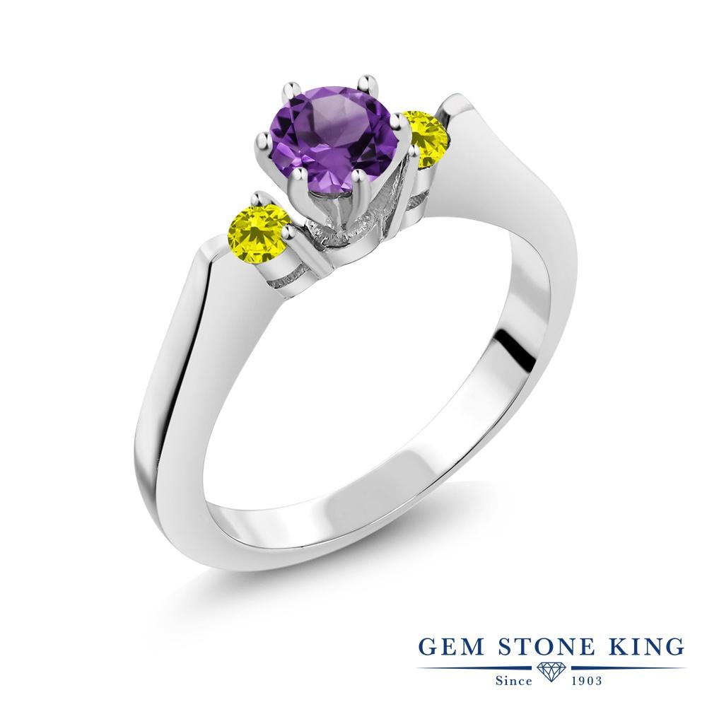 Gem Stone King 0.58カラット 天然 アメジスト 天然 イエローダイヤモンド シルバー925 指輪 リング レディース 小粒 スリーストーン シンプル 天然石 2月 誕生石 金属アレルギー対応 誕生日プレゼント