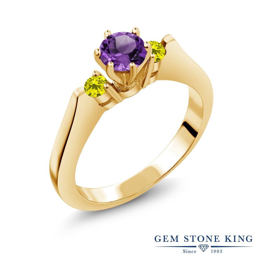 Gem Stone King 0.58カラット 天然 アメジスト 天然 イエローダイヤモンド シルバー925 イエローゴールドコーティング 指輪 リング レディース 小粒 スリーストーン シンプル 天然石 2月 誕生石 金属アレルギー対応 誕生日プレゼント