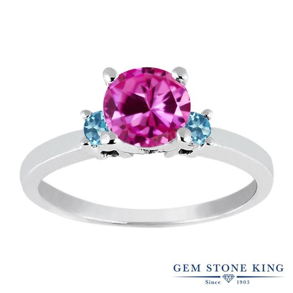 Gem Stone King 1.16カラット 合成ピンクサファイア シミュレイテッド スカイブルートパーズ シルバー925 指輪 リング レディース 大粒 シンプル スリーストーン 金属アレルギー対応 誕生日プレゼント