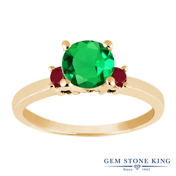 【10%OFF】 Gem Stone King 1.01カラット ナノエメラルド 天然 ルビー 指輪 リング レディース シルバー925 イエローゴールド 加工 シンプル スリーストーン 婚約指輪 エンゲージリング