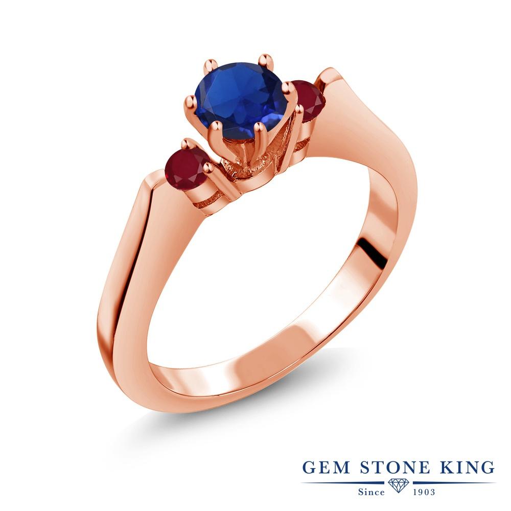 Gem Stone King 0.79カラット シミュレイテッド サファイア 天然 ルビー シルバー925 ピンクゴールドコーティング 指輪 リング レディース スリーストーン シンプル 金属アレルギー対応 誕生日プレゼント