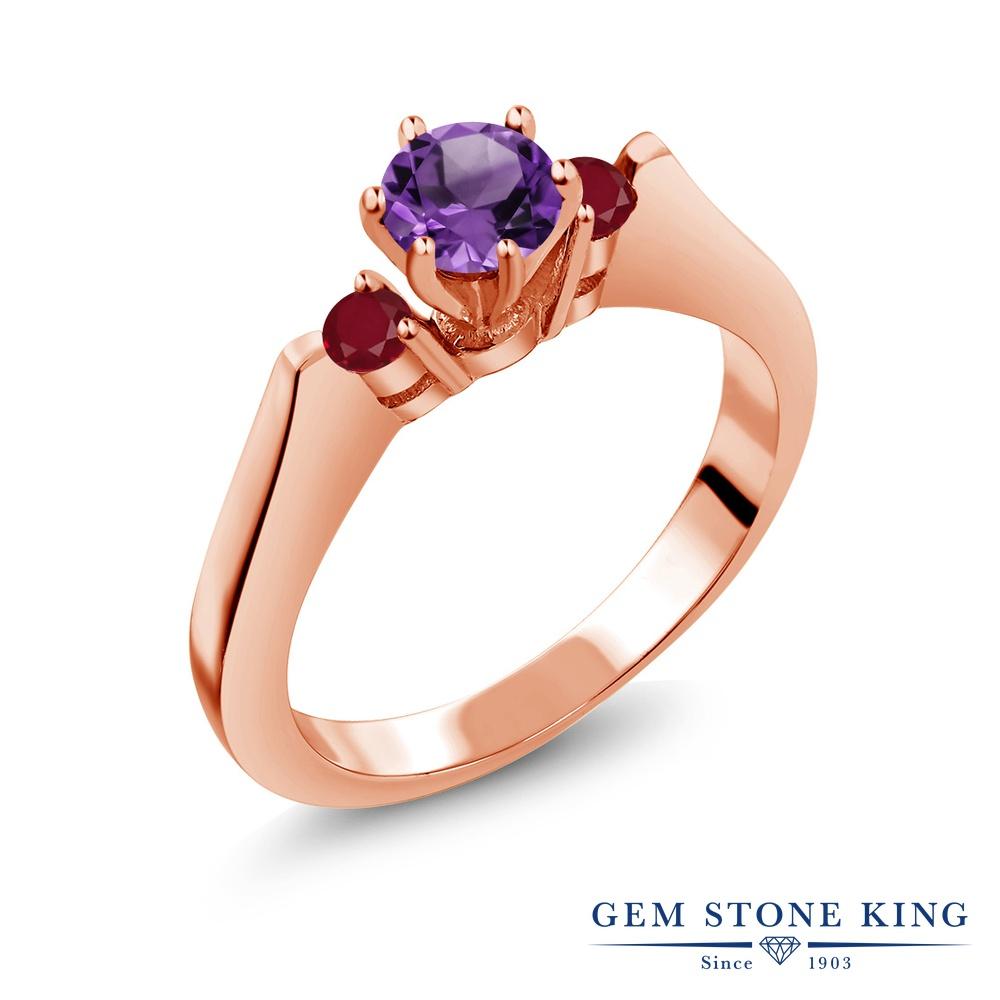 Gem Stone King 0.69カラット 天然 アメジスト 天然 ルビー シルバー925 ピンクゴールドコーティング 指輪 リング レディース 小粒 スリーストーン シンプル 天然石 2月 誕生石 金属アレルギー対応 誕生日プレゼント