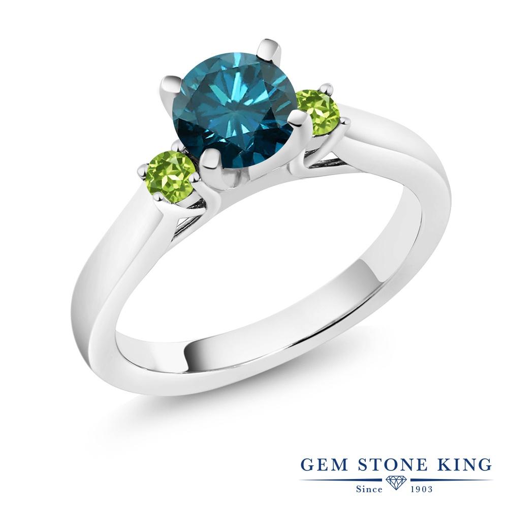 1.04カラット 天然 ブルーダイヤモンド 指輪 レディース リング 天然石 ペリドット シルバー925 ブランド おしゃれ スリーストーン ブルー ダイヤ 青 シンプル 4月 誕生石 婚約指輪 エンゲージリング