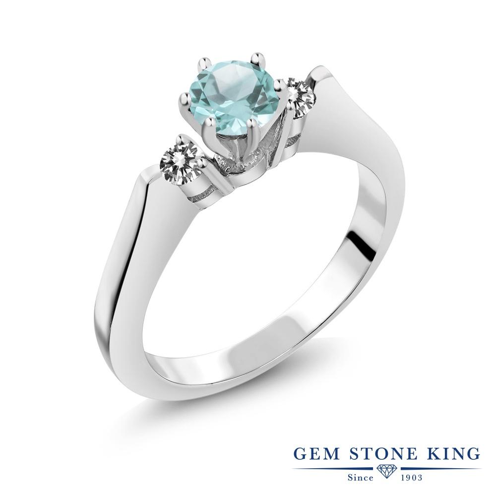 Gem Stone King 0.83カラット 天然 スカイブルートパーズ 天然 ダイヤモンド シルバー925 指輪 リング レディース スリーストーン シンプル 天然石 11月 誕生石 金属アレルギー対応 誕生日プレゼント