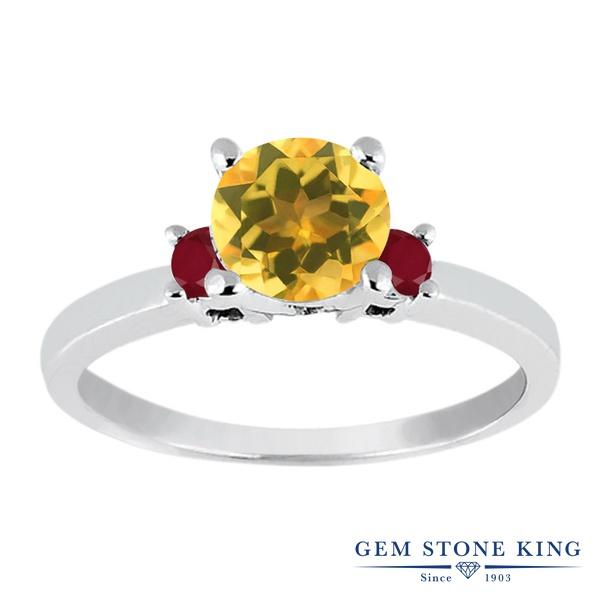 0.94カラット 天然 シトリン 指輪 レディース リング ルビー シルバー925 ブランド おしゃれ 黄色 シンプル スリーストーン 天然石 11月 誕生石 婚約指輪 エンゲージリング