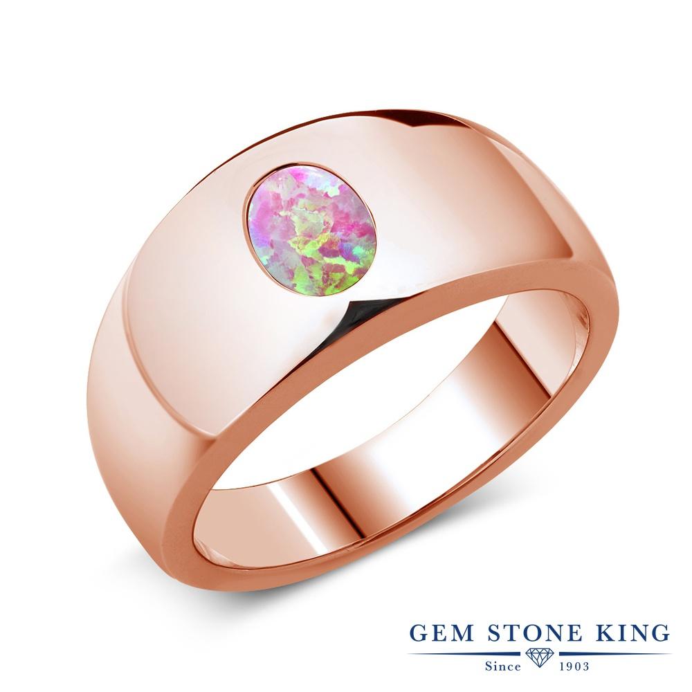 1.05カラット シミュレイテッド ピンクオパール 指輪 レディース リング ピンクゴールド 加工 シルバー925 ブランド おしゃれ 一粒 大粒 シンプル 太め 太い ソリティア 10月 誕生石 金属アレルギー対応