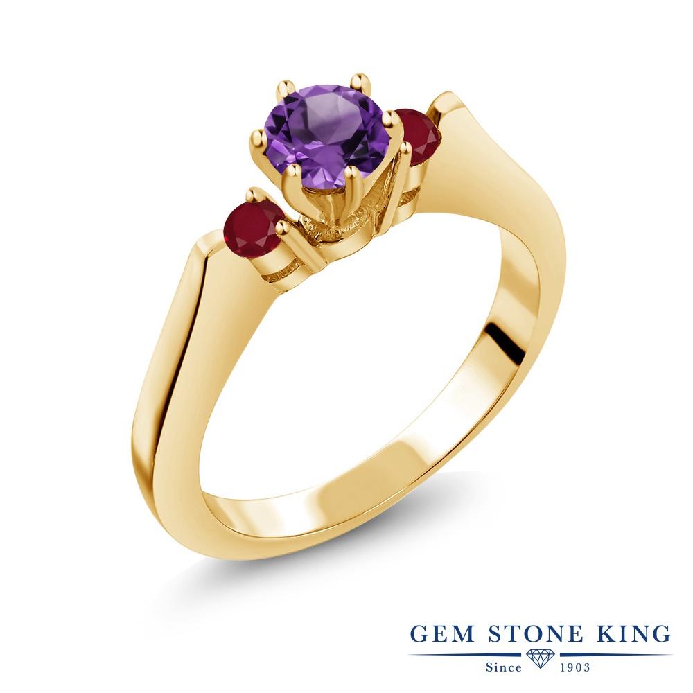 Gem Stone King 0.69カラット 天然 アメジスト 天然 ルビー シルバー925 イエローゴールドコーティング 指輪 リング レディース 小粒 スリーストーン シンプル 天然石 2月 誕生石 金属アレルギー対応 誕生日プレゼント