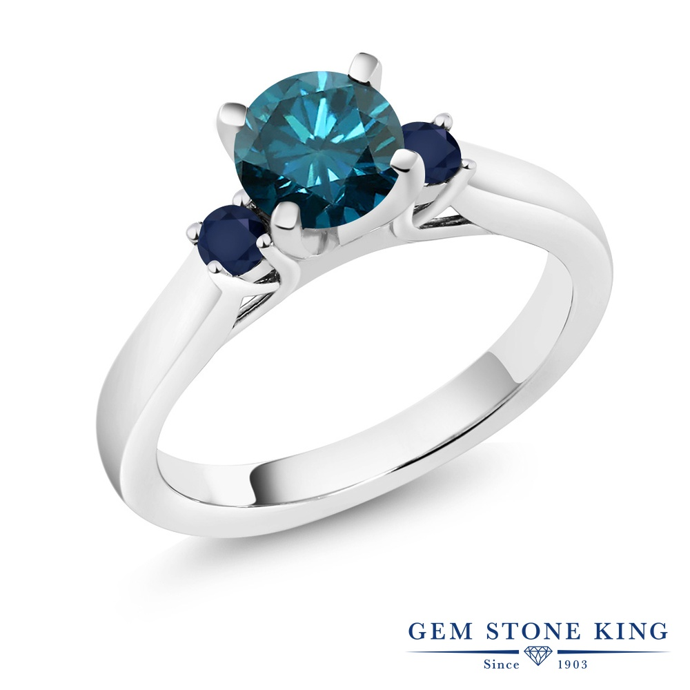 Gem Stone King 1.06カラット 天然ブルーダイヤモンド 天然サファイア シルバー925 指輪 リング レディース スリーストーン シンプル 天然石 誕生石 金属アレルギー対応 誕生日プレゼント