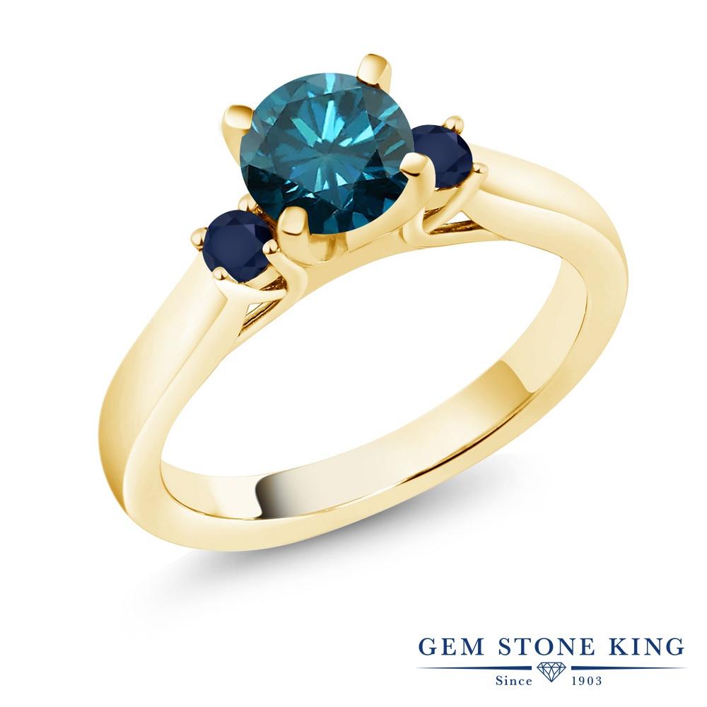 1.06カラット 天然 ブルーダイヤモンド 指輪 レディース リング サファイア イエローゴールド 加工 シルバー925 ブランド おしゃれ スリーストーン ブルー ダイヤ 青 シンプル 天然石 4月 誕生石 婚約指輪 エンゲージリング