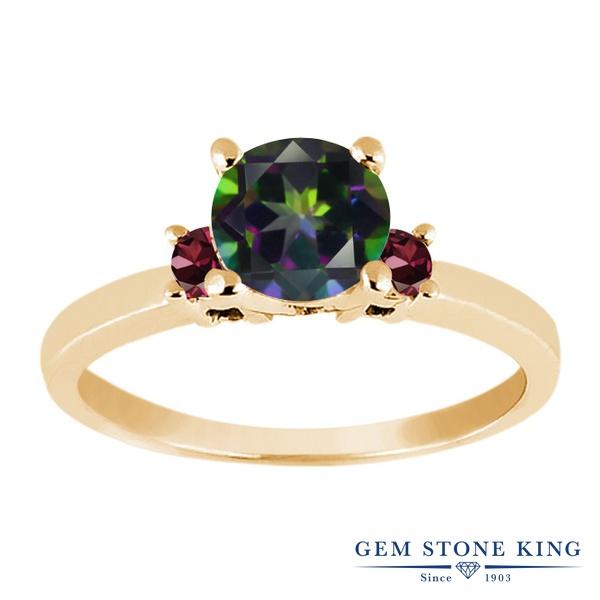 Gem Stone King 1.18カラット 天然石 ミスティックトパーズ (グリーン) 天然 ロードライトガーネット シルバー925 イエローゴールドコーティング 指輪 リング レディース 大粒 シンプル スリーストーン 天然石 金属アレルギー対応 誕生日プレゼント