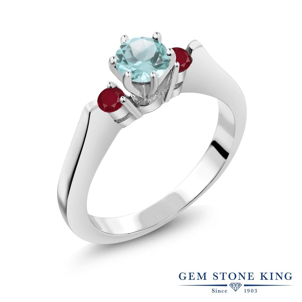 Gem Stone King 0.94カラット 天然 スカイブルートパーズ 天然 ルビー シルバー925 指輪 リング レディース スリーストーン シンプル 天然石 11月 誕生石 金属アレルギー対応 誕生日プレゼント