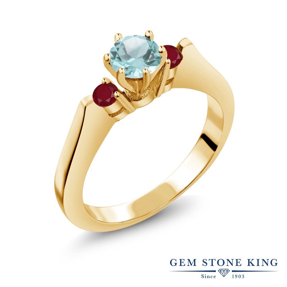 Gem Stone King 0.94カラット 天然 スカイブルートパーズ 天然 ルビー シルバー925 イエローゴールドコーティング 指輪 リング レディース スリーストーン シンプル 天然石 11月 誕生石 金属アレルギー対応 誕生日プレゼント