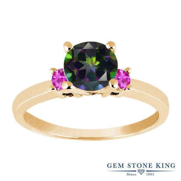 Gem Stone King 1.16カラット 天然石 ミスティックトパーズ (グリーン) 天然 ピンクサファイア シルバー925 イエローゴールドコーティング 指輪 リング レディース 大粒 シンプル スリーストーン 天然石 金属アレルギー対応 誕生日プレゼント
