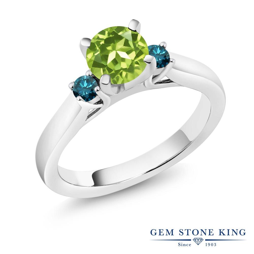 1.05カラット 天然石 ペリドット 指輪 レディース リング 天然 ブルーダイヤモンド シルバー925 ブランド おしゃれ スリーストーン 緑 シンプル 8月 誕生石 婚約指輪 エンゲージリング