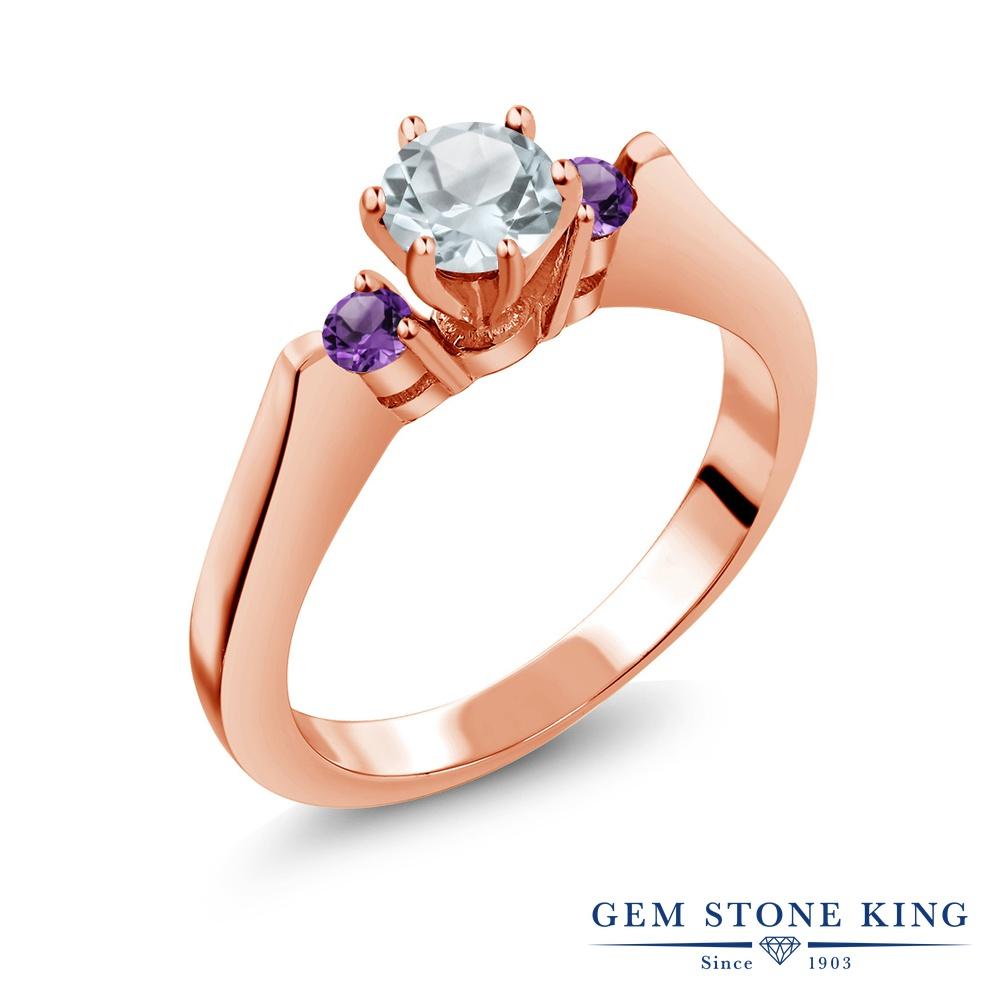 Gem Stone King 0.57カラット 天然 アクアマリン 天然 アメジスト シルバー925 ピンクゴールドコーティング 指輪 リング レディース 小粒 スリーストーン シンプル 天然石 3月 誕生石 金属アレルギー対応 誕生日プレゼント