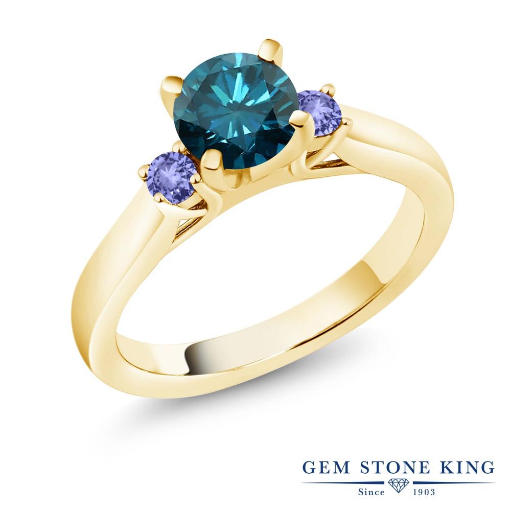 1.04カラット 天然 ブルーダイヤモンド 指輪 レディース リング 天然石 タンザナイト イエローゴールド 加工 シルバー925 ブランド おしゃれ スリーストーン ブルー ダイヤ 青 シンプル 4月 誕生石 婚約指輪 エンゲージリング