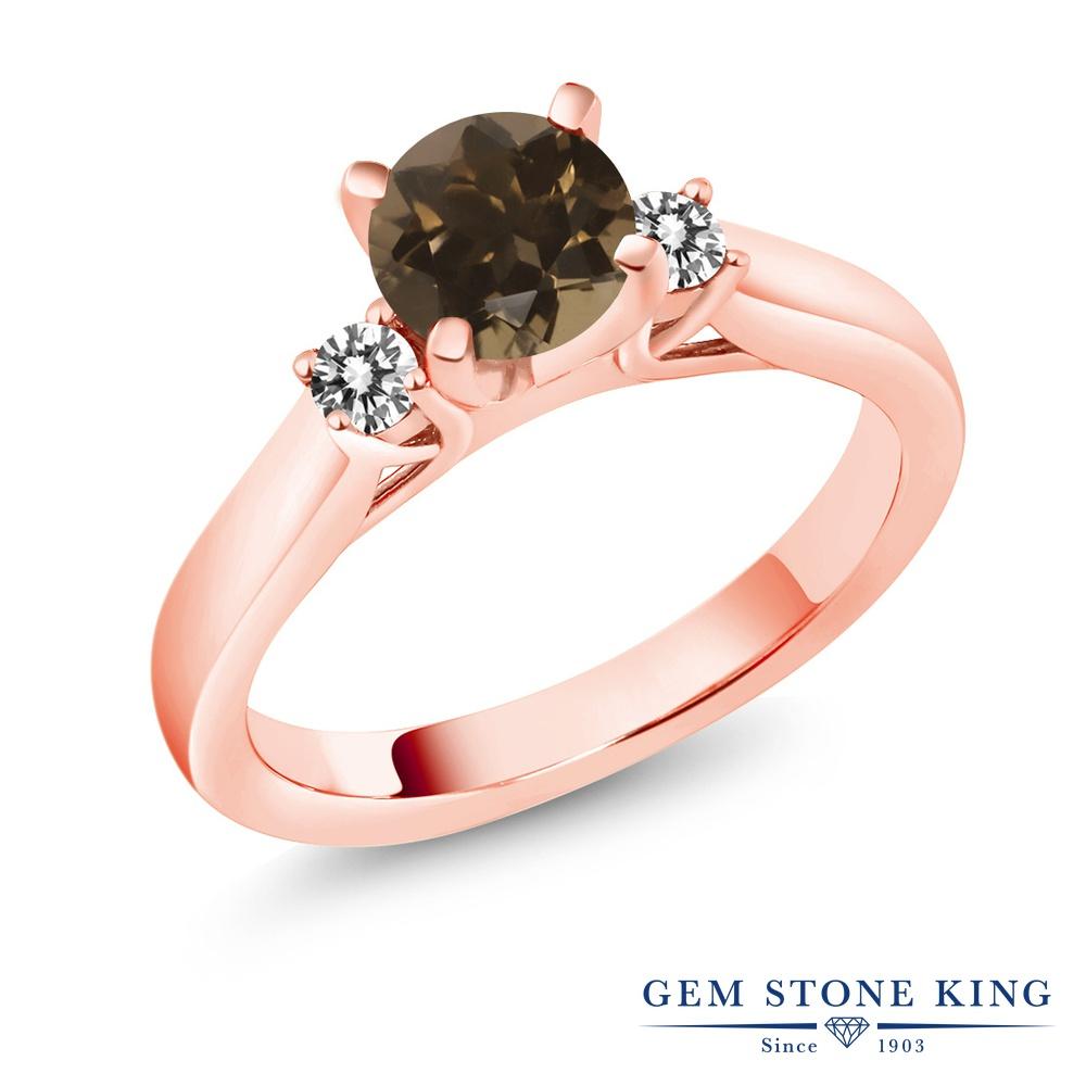 Gem Stone King 1カラット 天然 スモーキークォーツ (ブラウン) 天然 ダイヤモンド シルバー925 ピンクゴールドコーティング 指輪 リング レディース スリーストーン シンプル 天然石 金属アレルギー対応 誕生日プレゼント