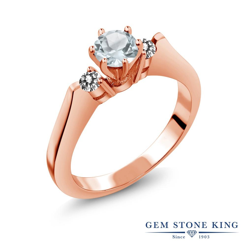 Gem Stone King 0.58カラット 天然 アクアマリン 天然 ダイヤモンド シルバー925 ピンクゴールドコーティング 指輪 リング レディース 小粒 スリーストーン シンプル 天然石 3月 誕生石 金属アレルギー対応 誕生日プレゼント