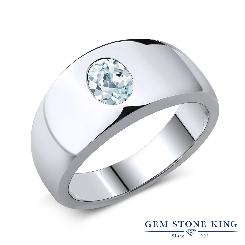 Gem Stone King 1.1カラット 天然 アクアマリン シルバー925 指輪 リング レディース 大粒 一粒 シンプル ソリティア 天然石 3月 誕生石 金属アレルギー対応 誕生日プレゼント