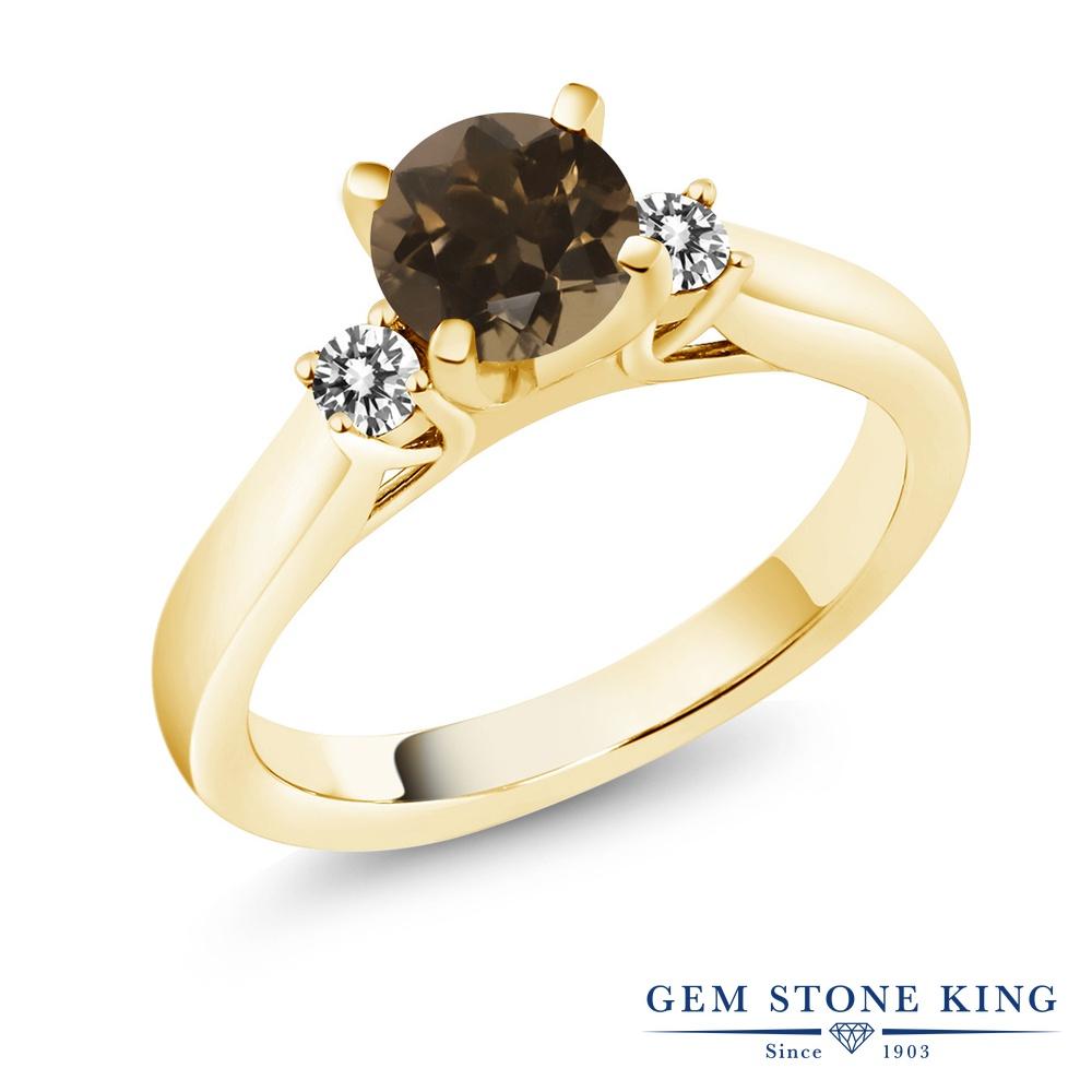 Gem Stone King 1カラット 天然 スモーキークォーツ (ブラウン) 天然 ダイヤモンド シルバー925 イエローゴールドコーティング 指輪 リング レディース スリーストーン シンプル 天然石 金属アレルギー対応 誕生日プレゼント