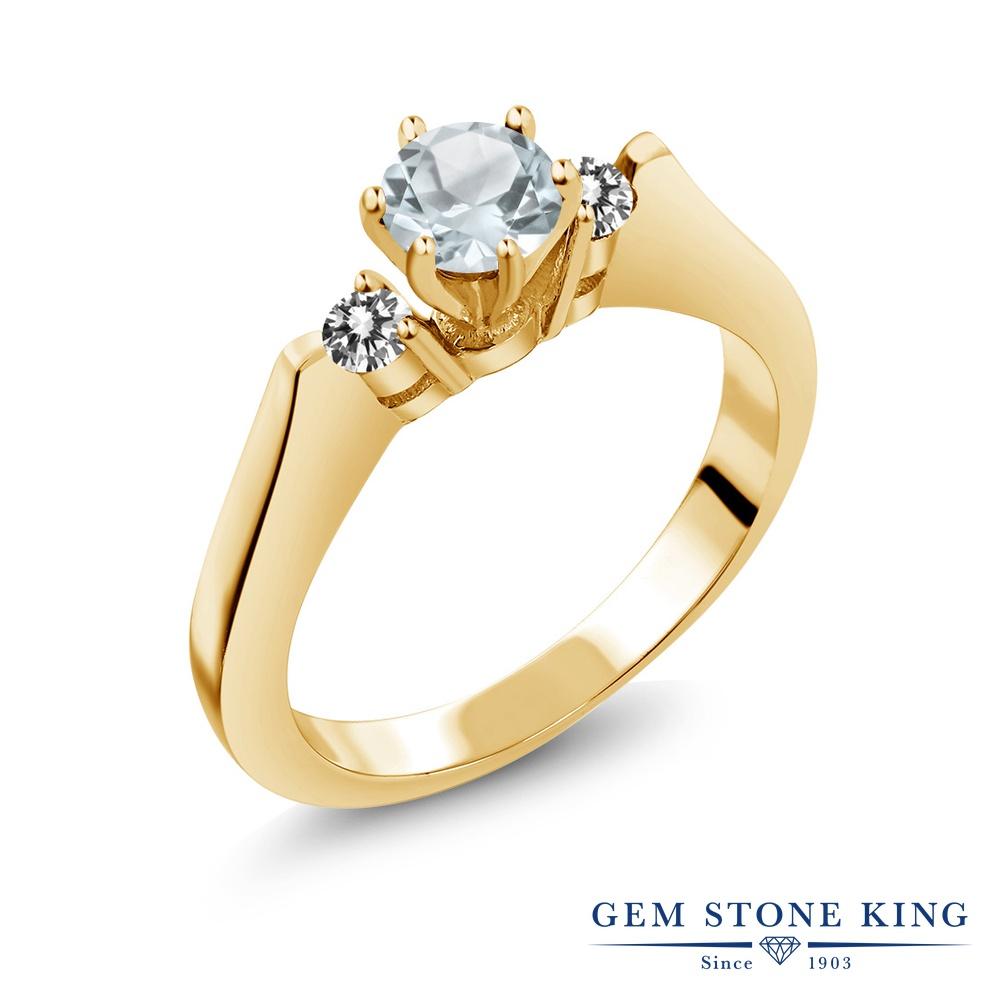 Gem Stone King 0.58カラット 天然 アクアマリン 天然 ダイヤモンド シルバー925 イエローゴールドコーティング 指輪 リング レディース 小粒 スリーストーン シンプル 天然石 3月 誕生石 金属アレルギー対応 誕生日プレゼント
