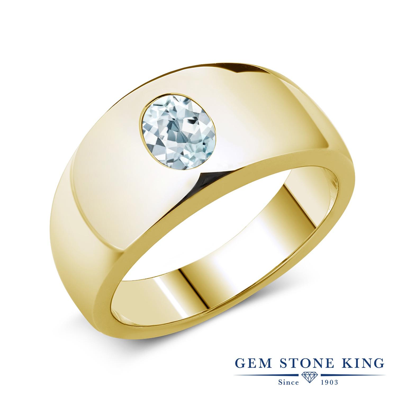 Gem Stone King 1.1カラット 天然 アクアマリン シルバー925 イエローゴールドコーティング 指輪 リング レディース 大粒 一粒 シンプル ソリティア 天然石 3月 誕生石 金属アレルギー対応 誕生日プレゼント