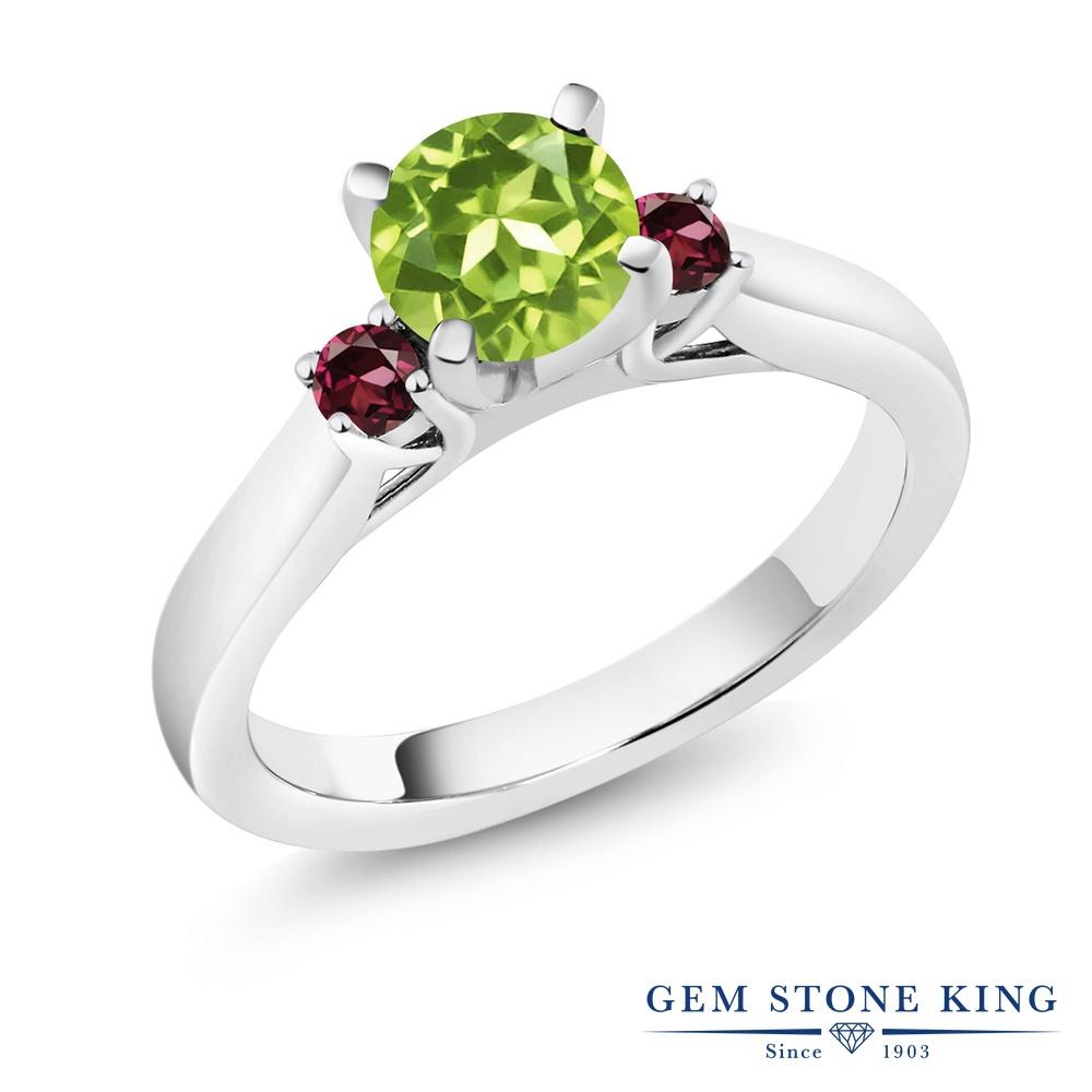 Gem Stone King 1.08カラット 天然石 ペリドット 天然 ロードライトガーネット シルバー925 指輪 リング レディース スリーストーン シンプル 天然石 8月 誕生石 金属アレルギー対応 誕生日プレゼント