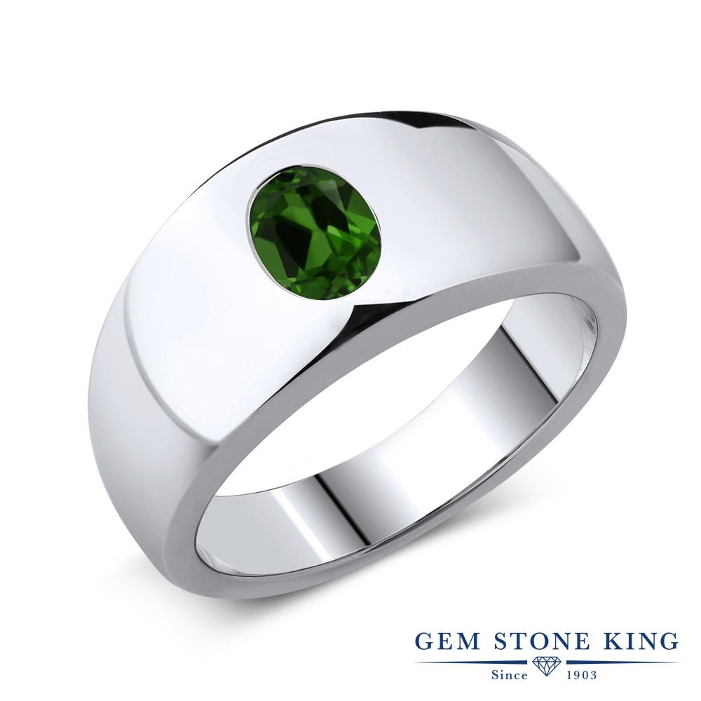 1.2カラット 天然 クロムダイオプサイド 指輪 レディース リング シルバー925 ブランド おしゃれ 一粒 緑 大粒 シンプル 太め 太い ソリティア 天然石 金属アレルギー対応