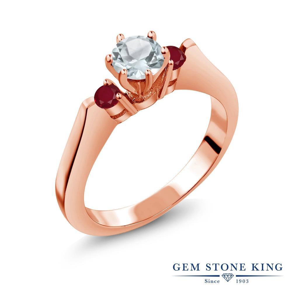 Gem Stone King 0.69カラット 天然 アクアマリン 天然 ルビー シルバー925 ピンクゴールドコーティング 指輪 リング レディース 小粒 スリーストーン シンプル 天然石 3月 誕生石 金属アレルギー対応 誕生日プレゼント