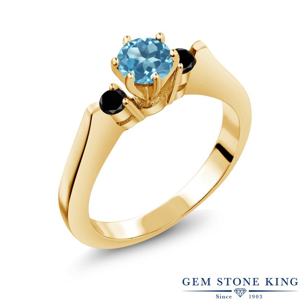 Gem Stone King 0.73カラット 天然 スイスブルートパーズ ブラックダイヤモンド 指輪 リング レディース シルバー925 イエローゴールド 加工 スリーストーン シンプル 天然石 11月 誕生石 金属アレルギー対応
