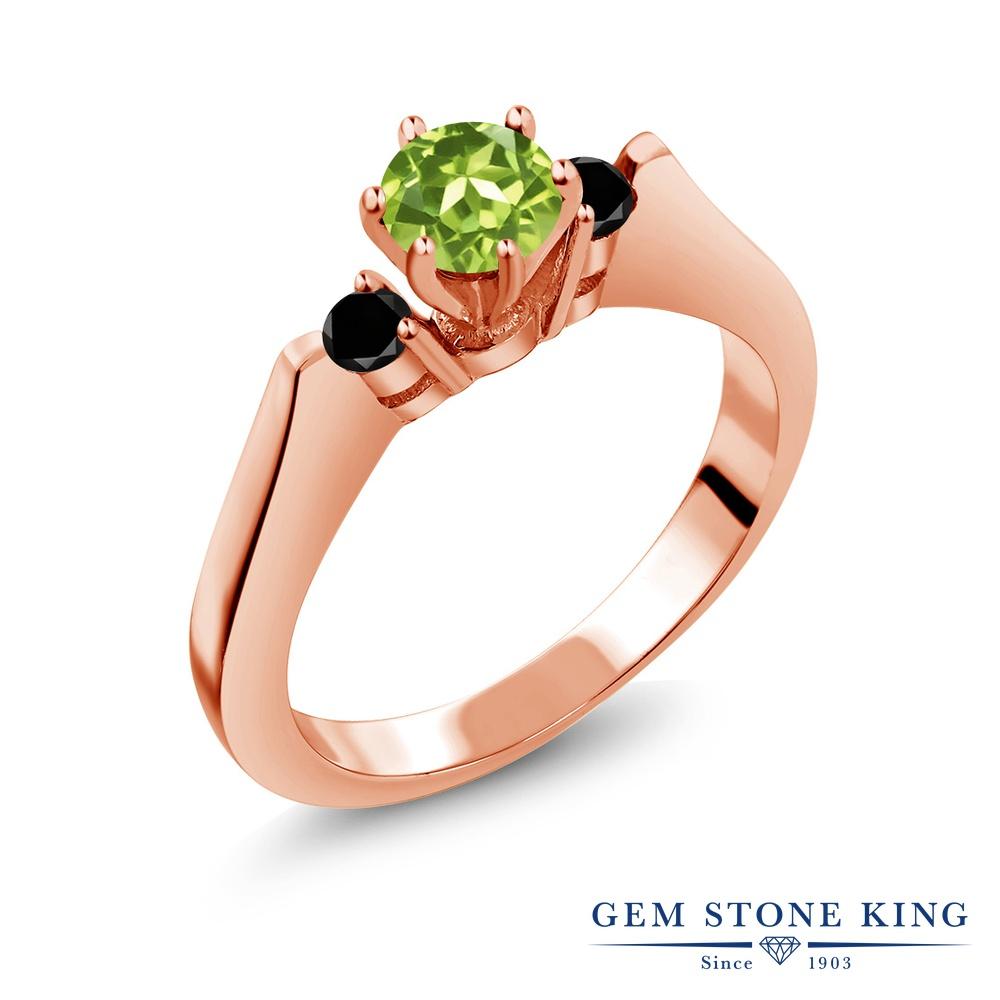 Gem Stone King 0.73カラット 天然石 ペリドット ブラックダイヤモンド 指輪 リング レディース シルバー925 ピンクゴールド 加工 スリーストーン シンプル 8月 誕生石 金属アレルギー対応