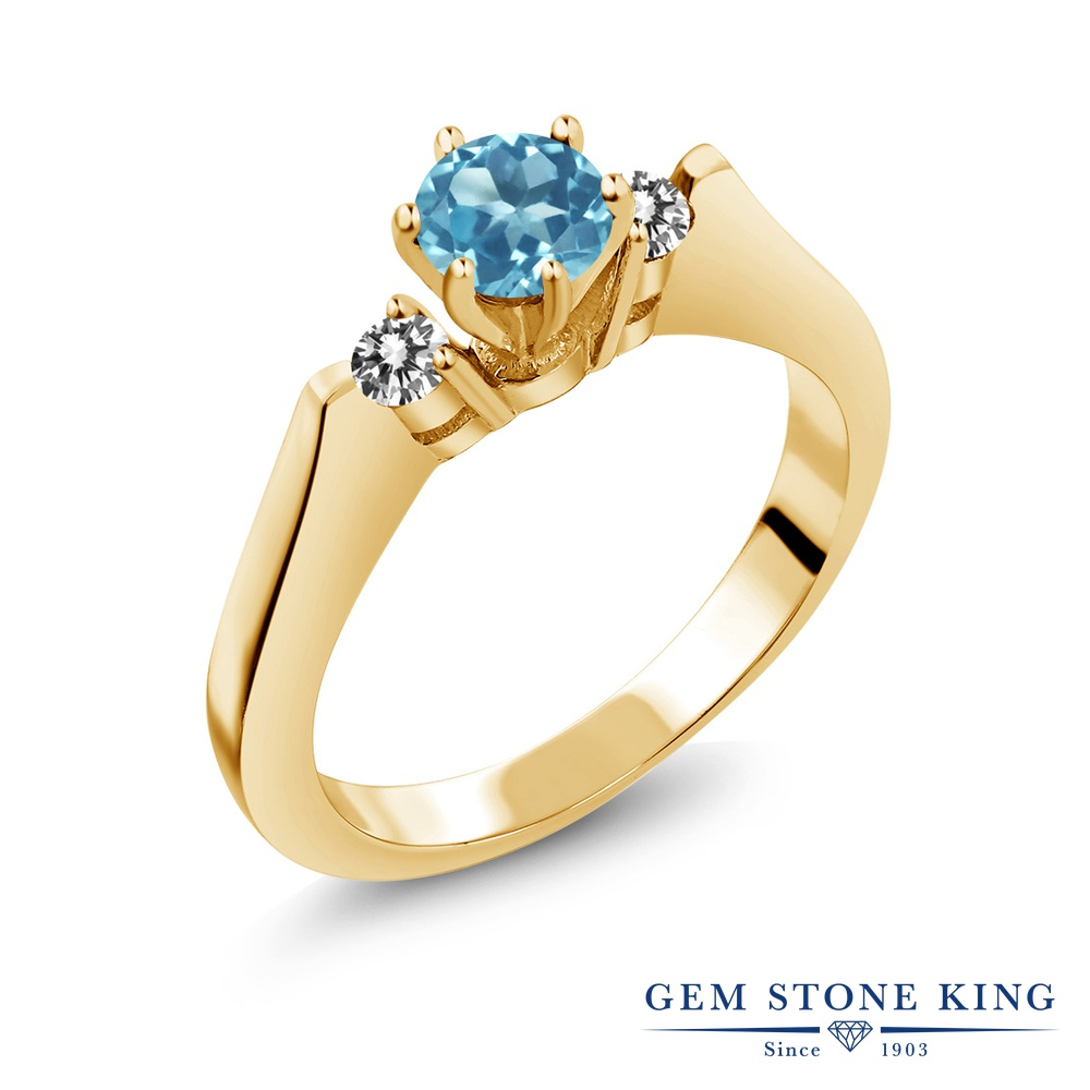 Gem Stone King 0.73カラット 天然 スイスブルートパーズ 天然 ダイヤモンド シルバー925 イエローゴールドコーティング 指輪 リング レディース スリーストーン シンプル 天然石 11月 誕生石 金属アレルギー対応 誕生日プレゼント