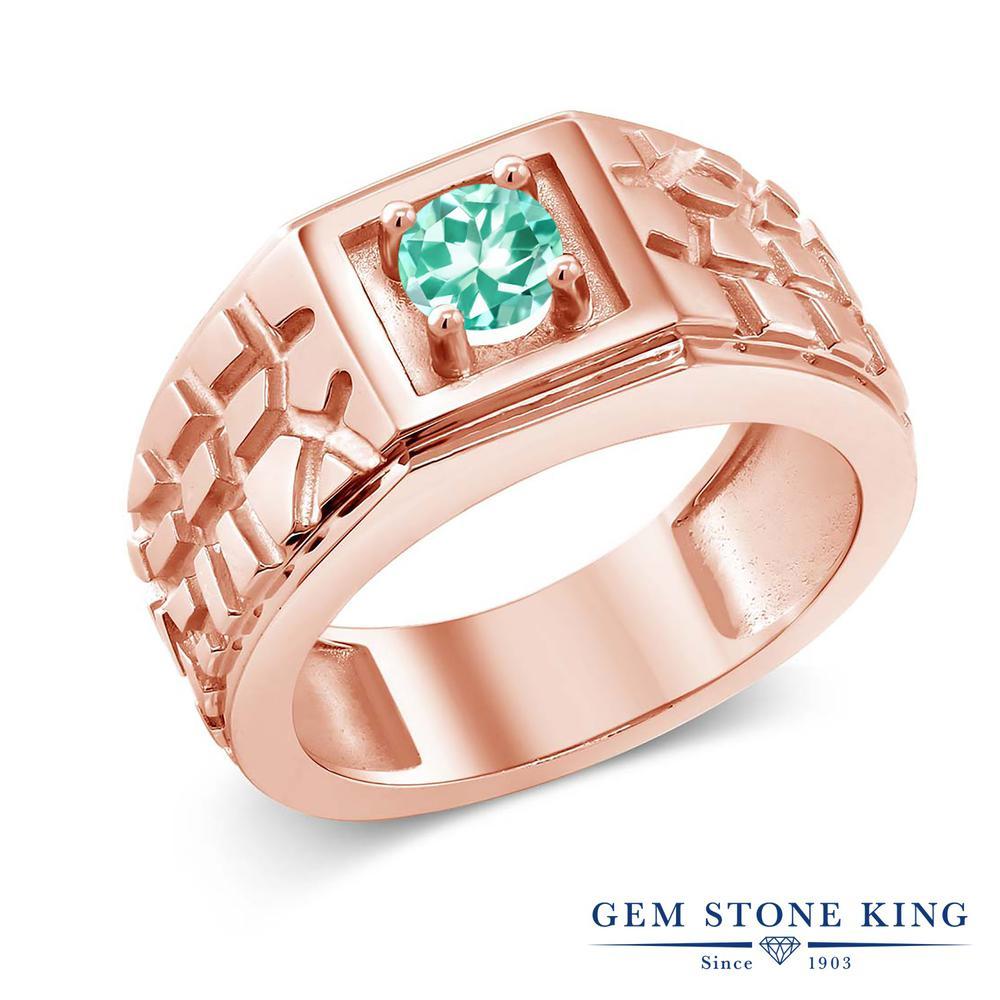 Gem Stone King 0.5カラット 指輪 リング レディース シルバー925 ピンクゴールド 加工 小粒 一粒 シンプル ソリティア 天然石 金属アレルギー対応