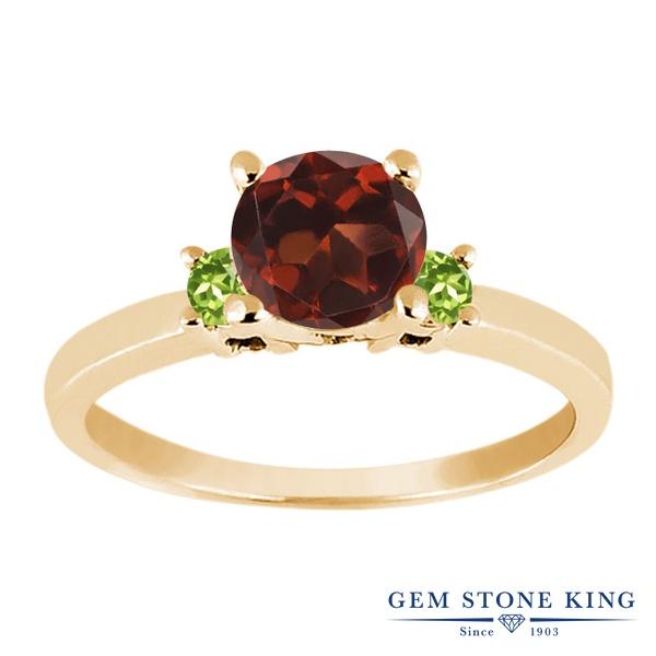 Gem Stone King 1.14カラット 天然 ガーネット 天然石 ペリドット シルバー925 イエローゴールドコーティング 指輪 リング レディース 大粒 シンプル スリーストーン 天然石 1月 誕生石 金属アレルギー対応 誕生日プレゼント