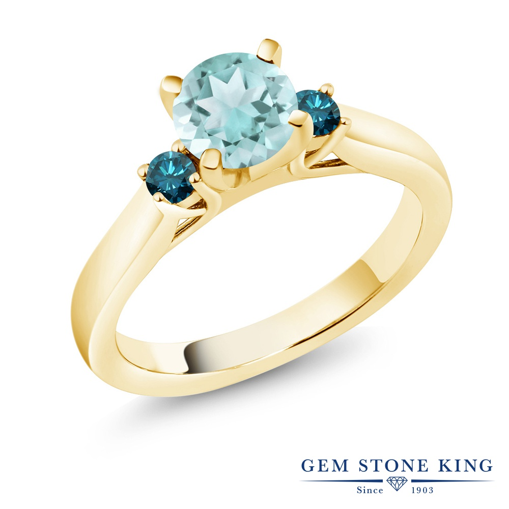 Gem Stone King 1.1カラット 天然 スカイブルートパーズ 天然 ブルーダイヤモンド シルバー925 イエローゴールドコーティング 指輪 リング レディース スリーストーン シンプル 天然石 11月 誕生石 金属アレルギー対応 誕生日プレゼント