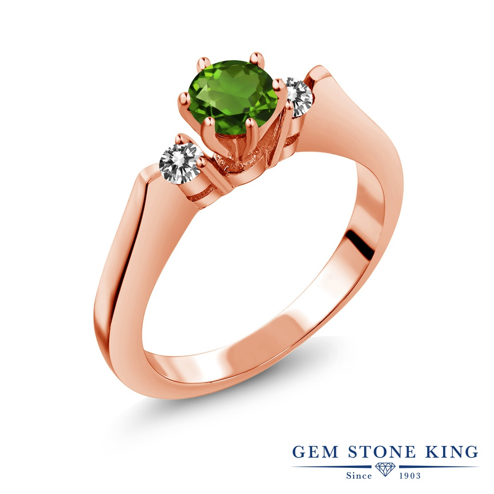 Gem Stone King 0.63カラット 天然 クロムダイオプサイド 天然 ダイヤモンド シルバー925 ピンクゴールドコーティング 指輪 リング レディース 小粒 スリーストーン シンプル 天然石 金属アレルギー対応 誕生日プレゼント