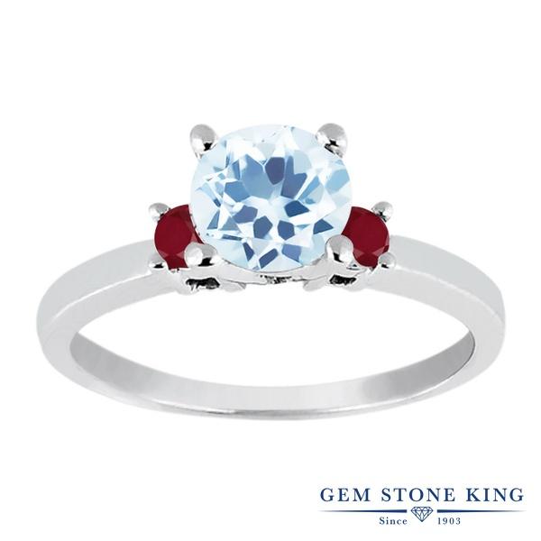 【10%OFF】 Gem Stone King 1.43カラット 天然 スカイブルートパーズ ルビー 指輪 リング レディース シルバー925 大粒 シンプル スリーストーン 天然石 11月 誕生石 婚約指輪 エンゲージリング